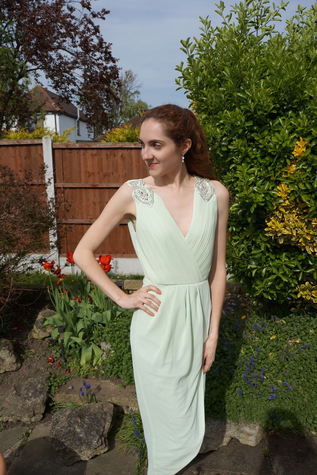 outside wearing mint dress