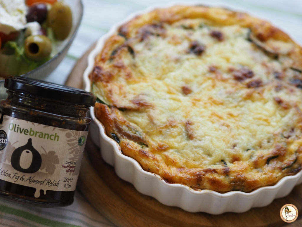 Sweet Olive, Fig and Almond Courgette Quiche