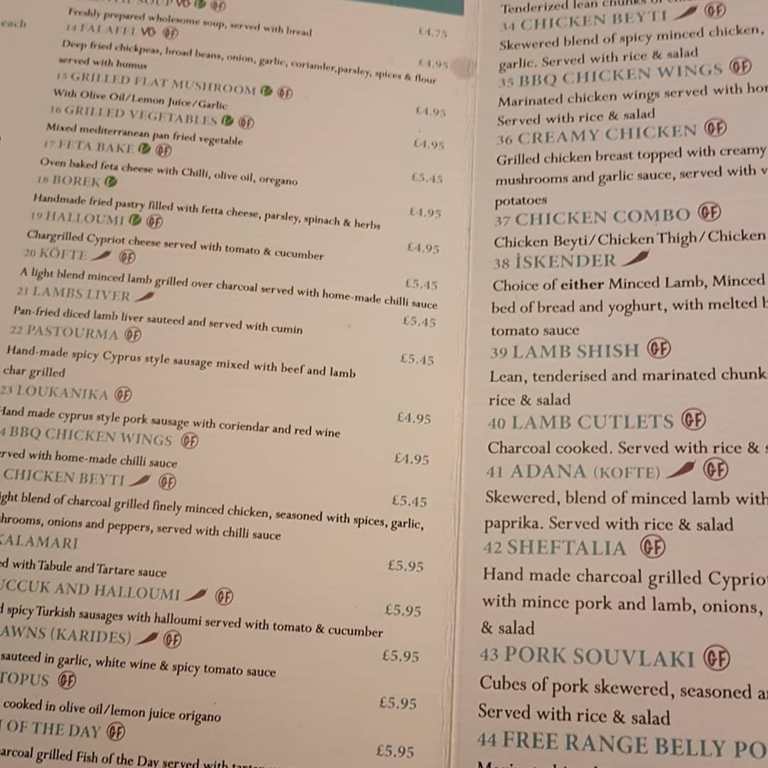 gem restaurant menu